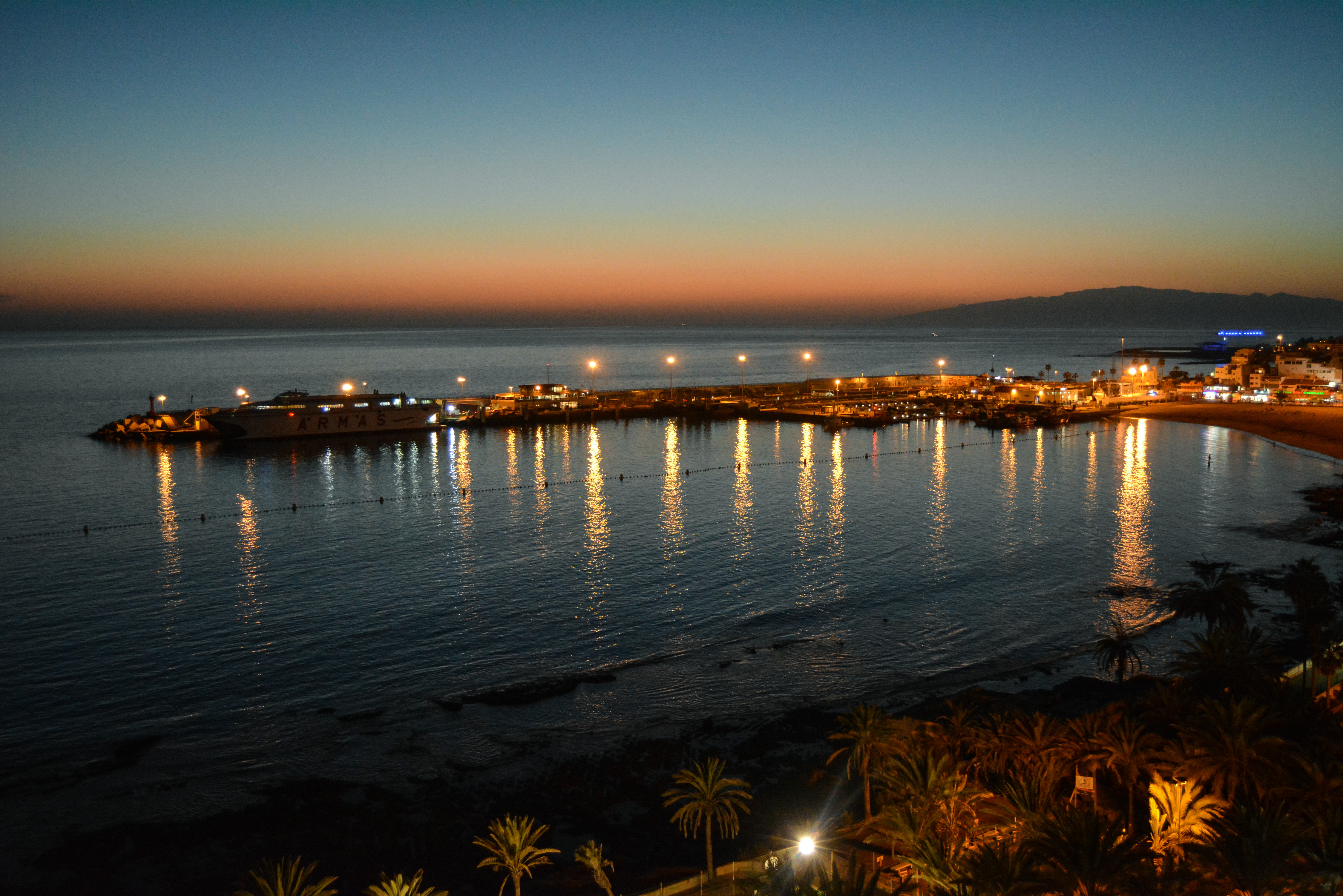 Los Cristianos Harbor in the evening